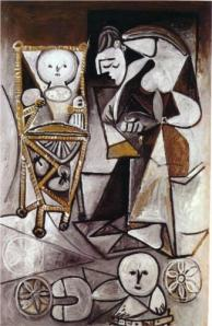 Drawing woman surrounded by her children - Pablo Picasso - 1950